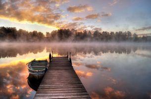Фото бесплатно туман, озеро, мост