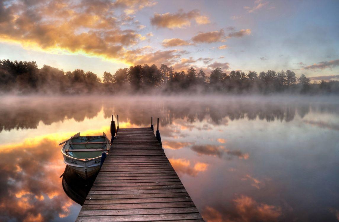 Фото бесплатно туман, озеро, мост - на рабочий стол