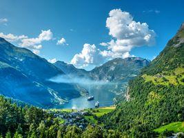 Фото бесплатно Гейрангер фьорд, Норвегия, Geiranger