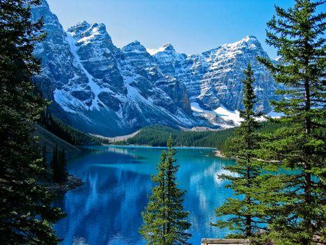 Фото бесплатно скалы, деревья, канада