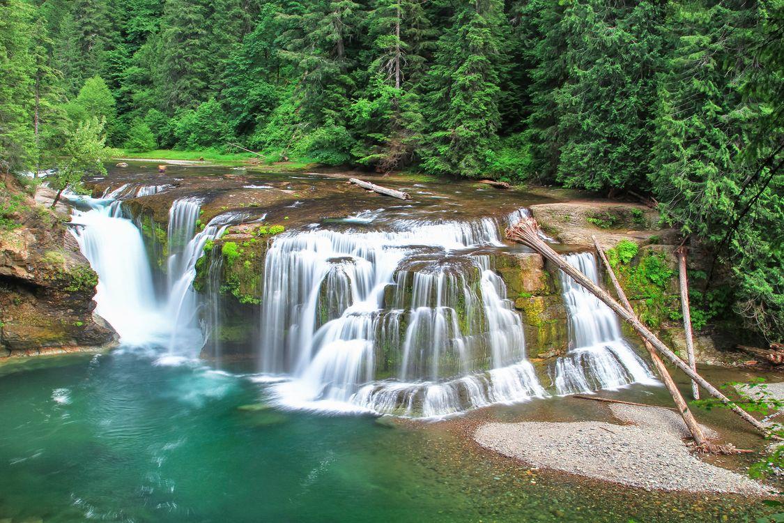Фото бесплатно Lower Lewis River Falls, водопад, река - на рабочий стол