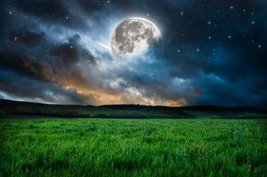 Фото бесплатно ночь, поле, сумерки