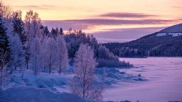 Заставки замерзшее озеро, закат, пейзаж