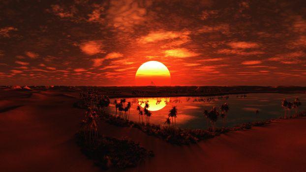 Фото бесплатно закат, красное небо, отражение