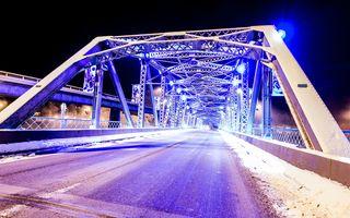 Заставки архитектура, мосты, огни, металл, ночь, фиолетовый, дорог, сезоны, снег, сталь, структура, зима