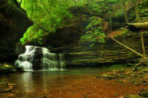 Заставки Mize Mill Falls, водопад, скалы