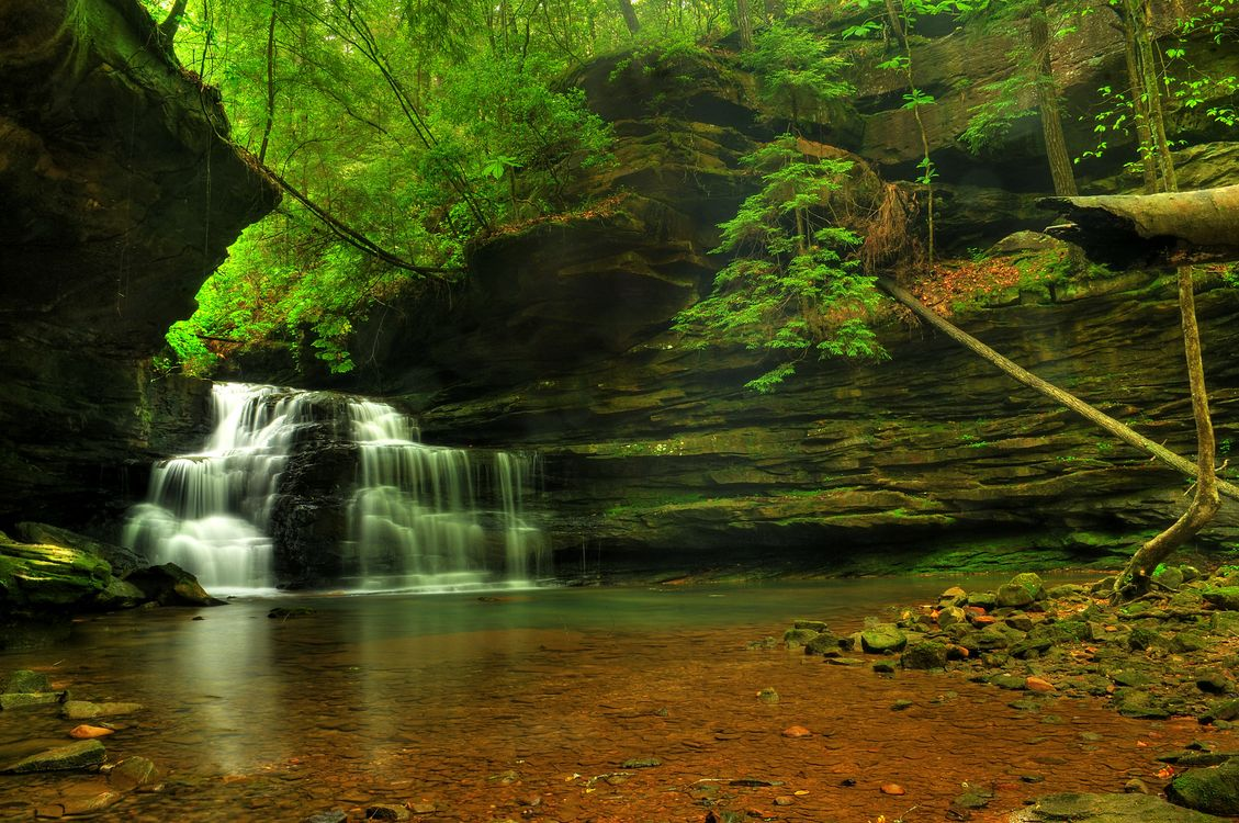 Photos for free Mize Mill Falls, waterfall, rocks - to the desktop