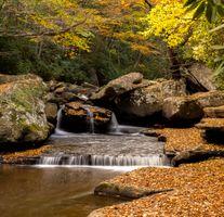 Фото бесплатно осенний водопад, осенние листья, природа
