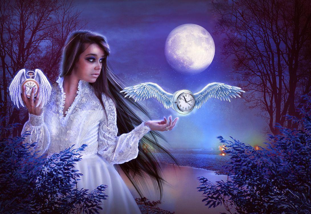Фото бесплатно лунная ночь, девушка, красотка, крылатые часы, ночь, луна, фантазия, фантастика, art, рендеринг