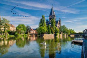 Бесплатные фото Metz,France,Мец,Франция,город,мосты,дома