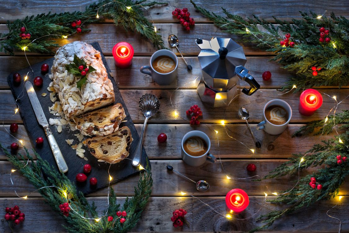 Фото бесплатно натюрморт, сосна, ель, свечи, огни, рождественский, кофе, эспрессо, горшок, праздники
