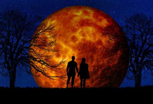 Бесплатные фото пара,ночь,вселенная,небо,мистический,ночное небо,лунный,космос,луна,романтические,человек,женщина