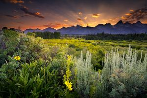 Golden sunset over the peaks of the Teton in BLK