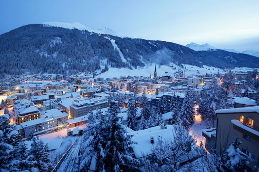 Photo free winter, Blue hour Davos, city