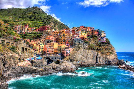 Бесплатные фото HDR,coastline,Cinque Terre,Italy,город,побережье,Италия