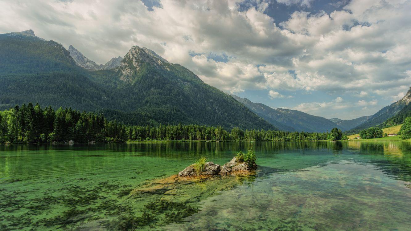 Фото бесплатно Hintersee, озеро, облака, сельская местность, отражение, Bavaria, горы, скалы, деревья, пейзаж, bergsee, берхтесгаден, пейзажи