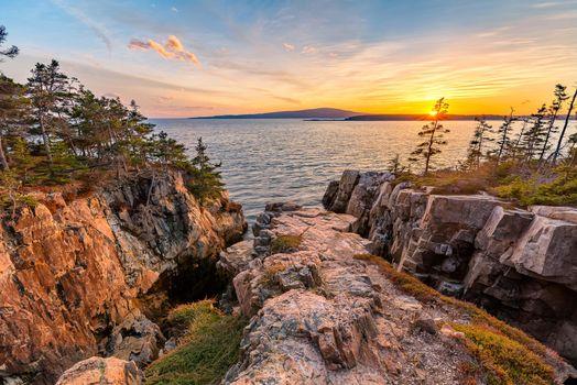 Бесплатные фото Национальный парк Акадия,штат Мэн,США,закат,скалистый берег,море,природа,пейзаж