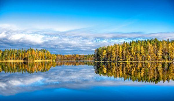 Фото бесплатно Finland, озеро, осень, небо, отражение, лес, деревья, природа, пейзаж