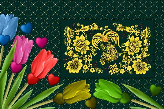 Фото бесплатно тюльпаны, цветочная композиция, фон