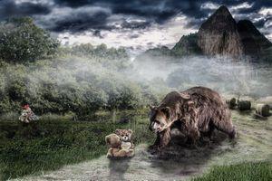 Фото бесплатно медведь, медвежонок, девочка, ребёнок, фантазия, art
