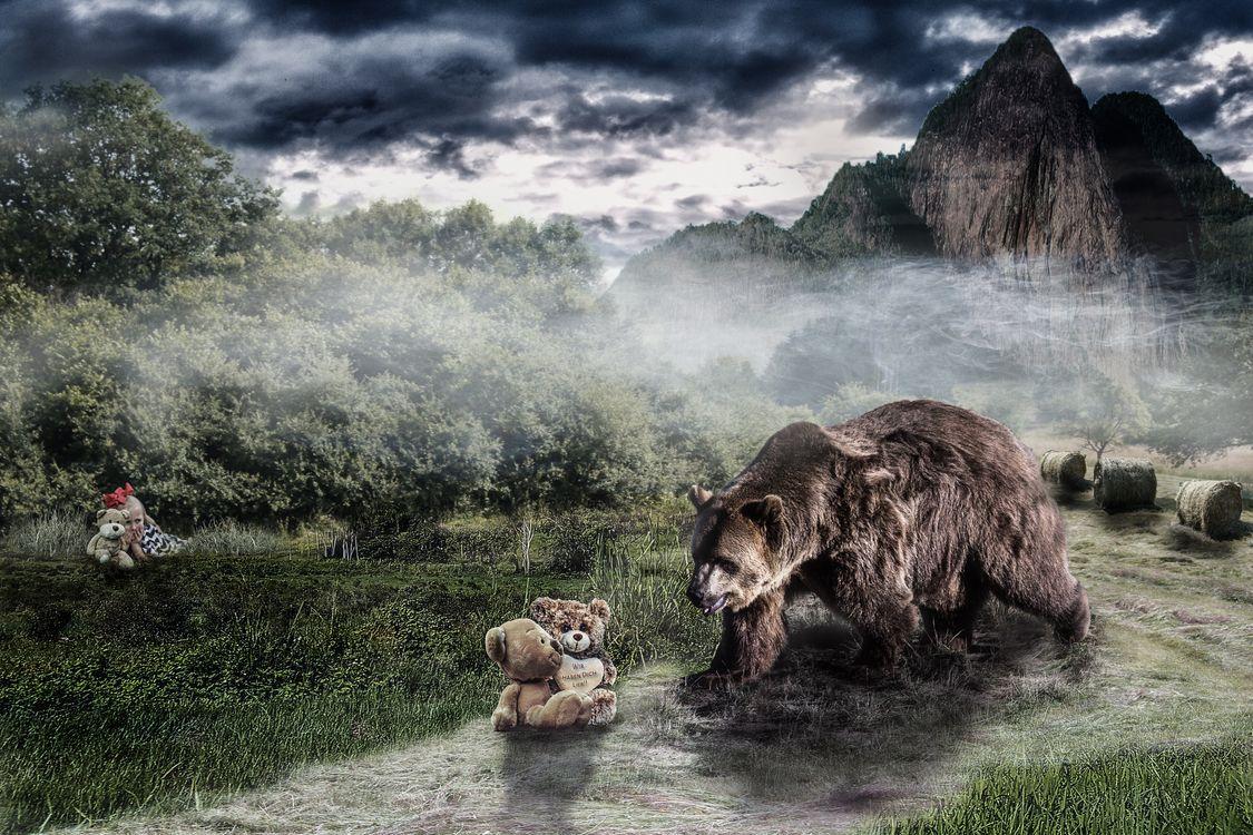 Фото бесплатно медведь, медвежонок, девочка, ребёнок, фантазия, art, рендеринг
