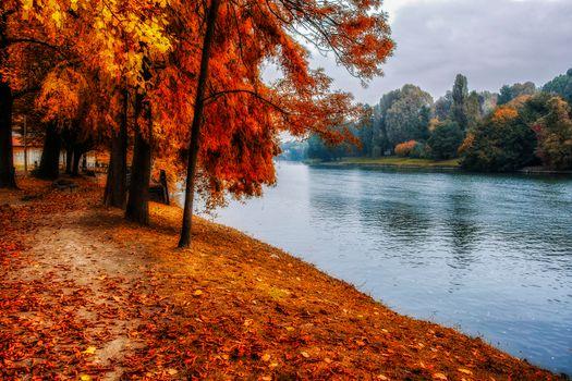 Заставки осень, парк, река, канал, деревья, осенние листья, осенние краски, пейзаж