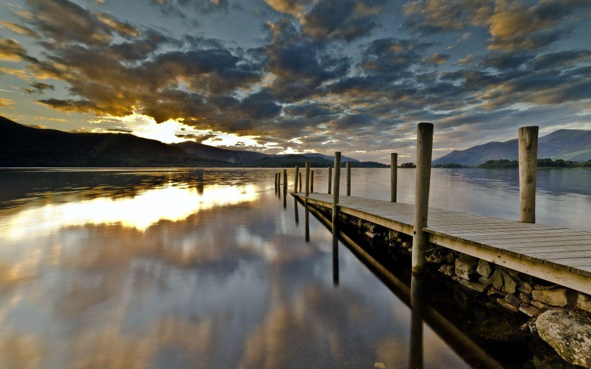 Фото бесплатно облака, причал, озеро - на рабочий стол