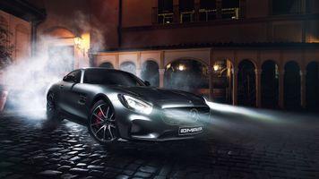 Фото бесплатно Mercedes AMG GT C, ночью, включенные фары
