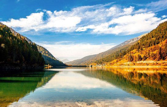 Фото бесплатно район озера, горы пейзаж, река