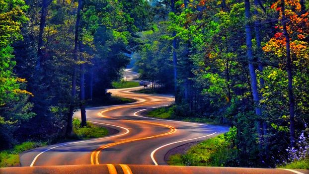 Photo free winding road, autumn, color
