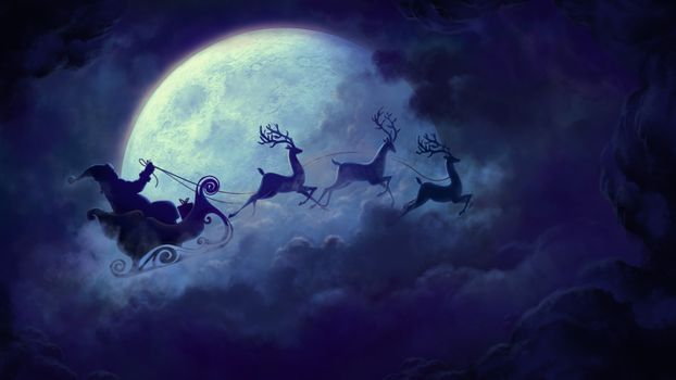 Photo free Christmas holidays, Santa Claus, sleigh