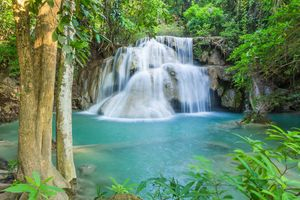 Заставки Huay Mea Khamin Waterfall Kanchanaburi,Thailand,река,водопад,деревья,природа,пейзаж