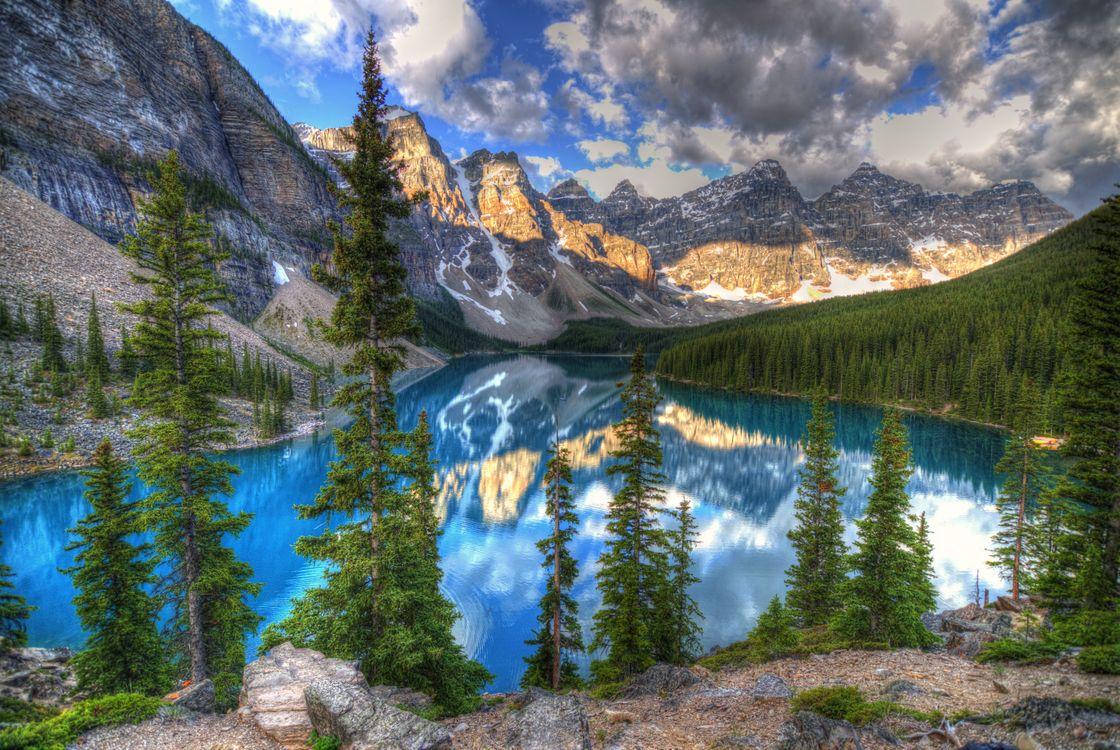 Фото бесплатно озеро, Альберта, озеро Морейн - на рабочий стол