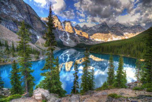 Фото бесплатно озеро, Альберта, озеро Морейн