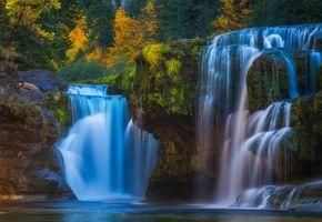 Бесплатные фото Lower Lewis River Falls,Columbia River,осень,лес,деревья,скалы,водопад