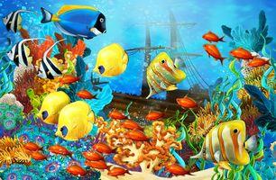 Заставки море,рифы,рыбы,морское дно,затонувший корабль,art