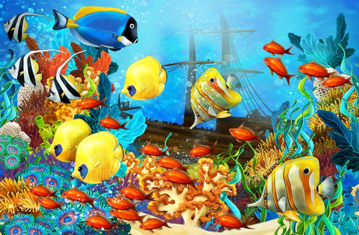 Обои море, рифы, рыбы, морское дно, затонувший корабль, art на телефон | картинки рендеринг