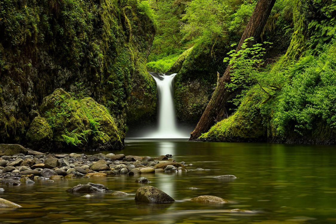 Обои Панч Боул Фолс, Орегонский водопад, камни картинки на телефон