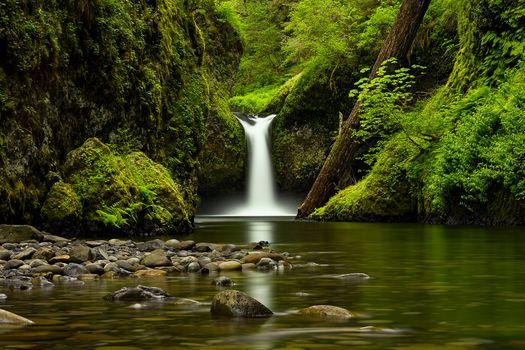 Заставки Панч Боул Фолс, Орегонский водопад, камни