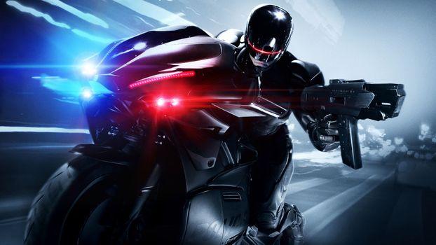 Заставки Robocop, мотоцикл, полицейский