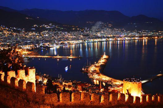 Бесплатные фото alanya,deniz,beach,вид с замка,стена,освещение,море,город на побережье