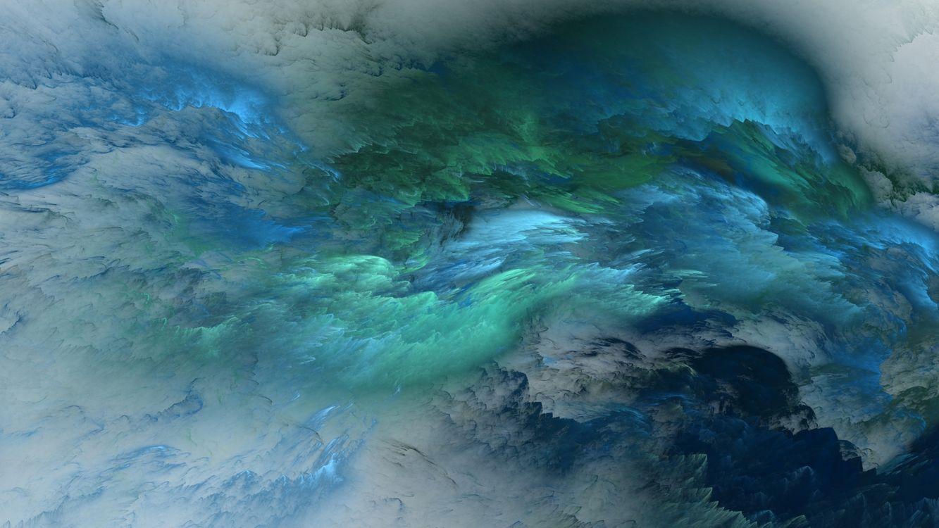Обои синий, зеленый, облака картинки на телефон