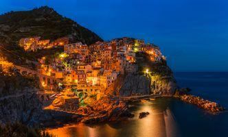 Заставки город, Cinque Terre, ночь