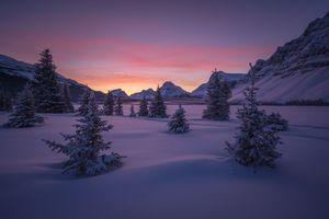 Бесплатные фото Bow Lake,Alberta,Canada,зима,закат,снег,горы