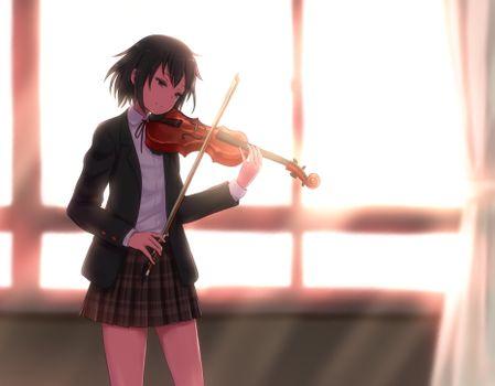 Photo free anime girl, violin, school uniform