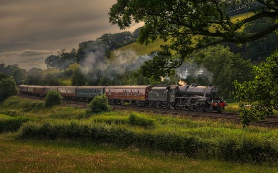 Photo free composition, steam train, rain