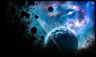 Фото бесплатно космос, планета с кольцом, вселенная