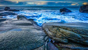 Photo free sea, rocky shore, waves