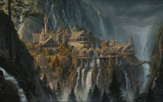 Painted Rivendell from the movie the Hobbit