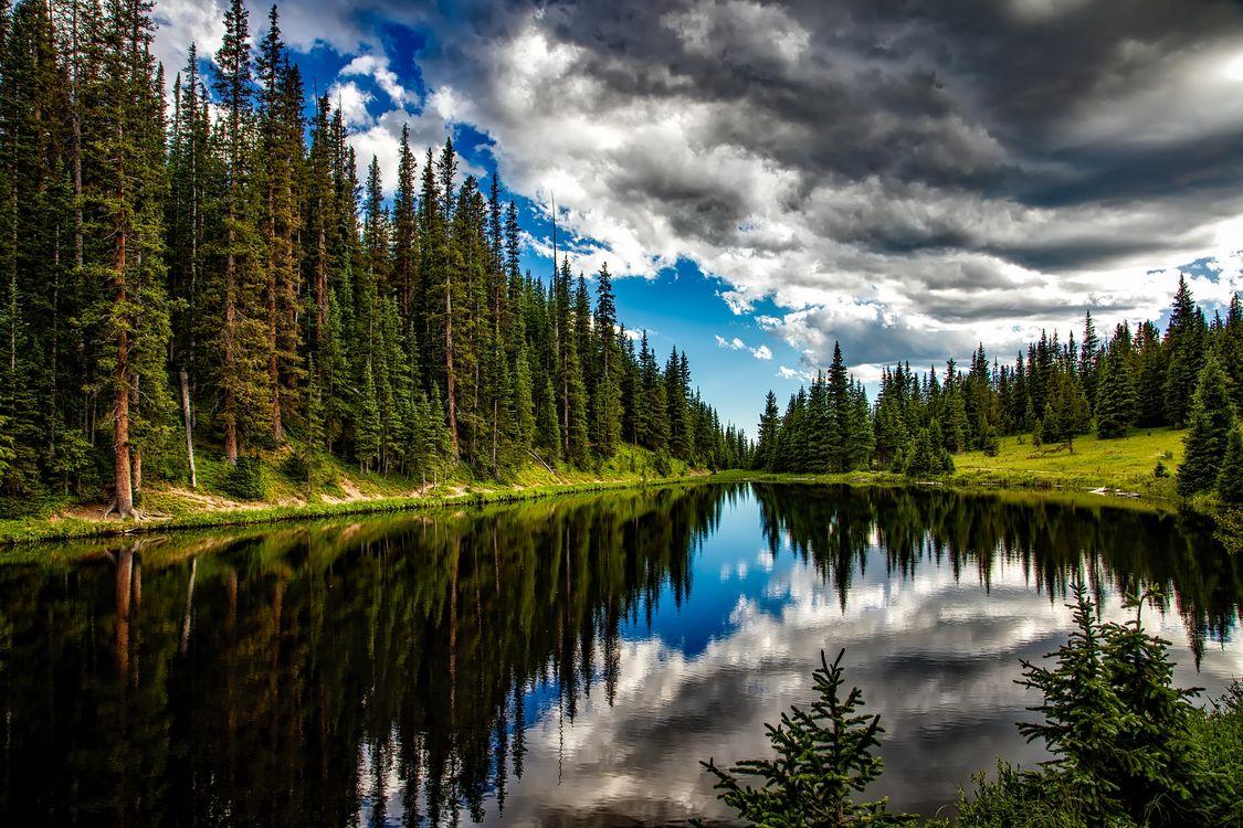 Фото бесплатно Колорадо, Альпы, озеро, лес, деревья, небо, облака, пейзаж, пейзажи